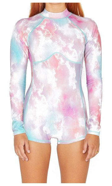 Hurley max head in the clouds long sleeve one-piece swimsuit in lucite multi