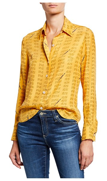 HVN Cristina Button-Down Blouse in yellow