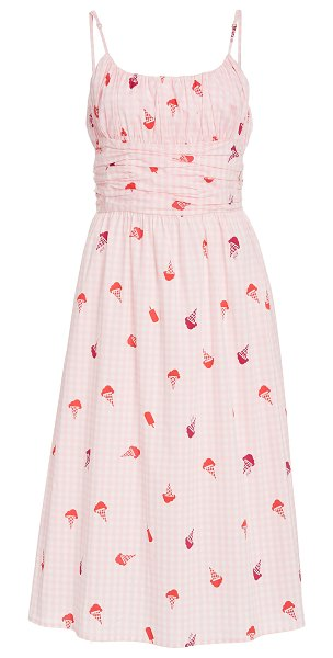HVN lucy smocked cotton dress in print