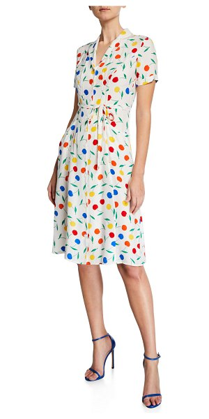 HVN Maria Cherry-Print Button-Down Midi Dress in rainbow cherry
