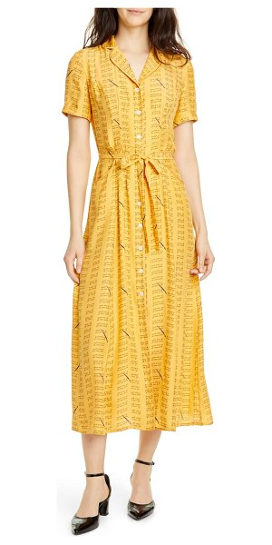 HVN maria love notes silk shirtdress in yellow love notes