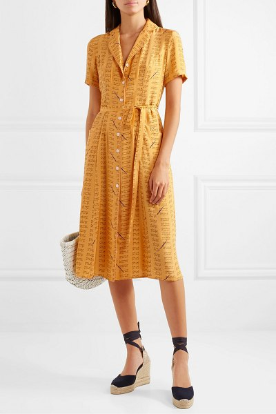 HVN maria printed silk crepe de chine dress in yellow