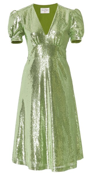 HVN paula v-neck sequined dress size: 0 in green