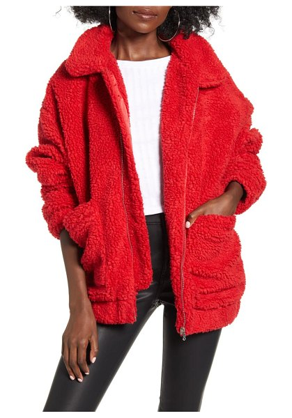 I.AM.GIA i.am. gia pixie faux shearling jacket in red