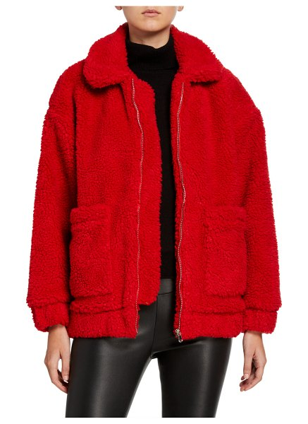 I.AM.GIA Pixie Zip-Front Sherpa Coat in red