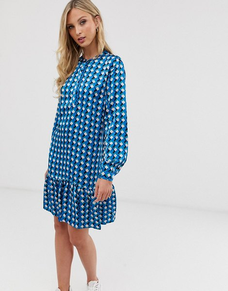 Ichi printed drop hem mini dress in deeplagoon