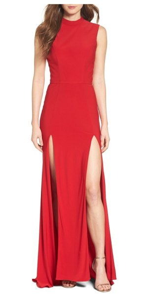 IEENA FOR MAC DUGGAL jersey double slit gown in red
