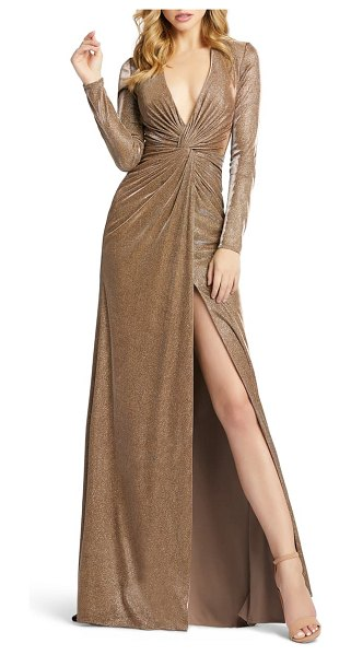 IEENA FOR MAC DUGGAL twist front long sleeve metallic gown in bronze
