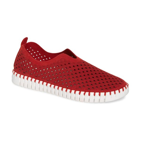 Ilse Jacobsen tulip 139 perforated slip-on sneaker in deep red fabric