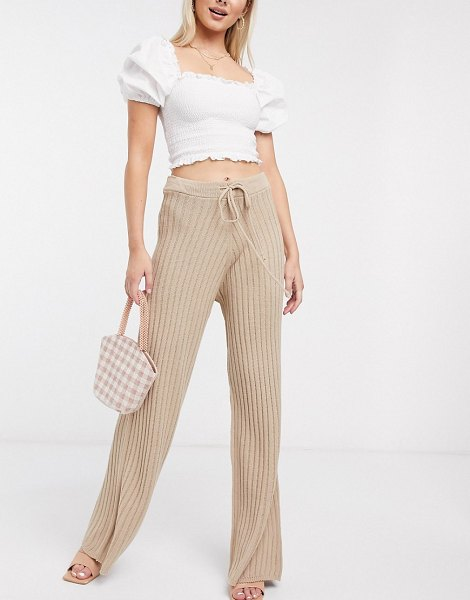 In The Style x lorna luxe lullaby ribbed wide leg pants two-piece in stone-beige in beige