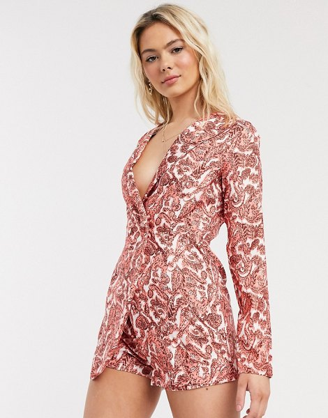 In The Style x saffron barker blazer style romper in coral-pink in pink
