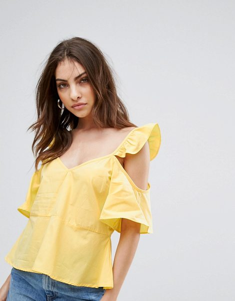 """Influence Cold Shoulder Ruffle Shoulder Cami in yellow - """"""""Top by Influence, Woven cotton, V-neck, Cold-shoulder..."""