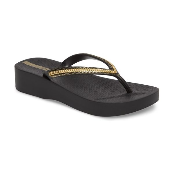 86a5f037d0d27 Ipanema mesh platform flip flop in black  black - A cushy wedge and platform  add