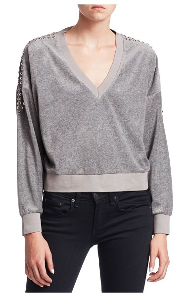 IRO Tapes Cropped V-Neck Sweatshirt in grey