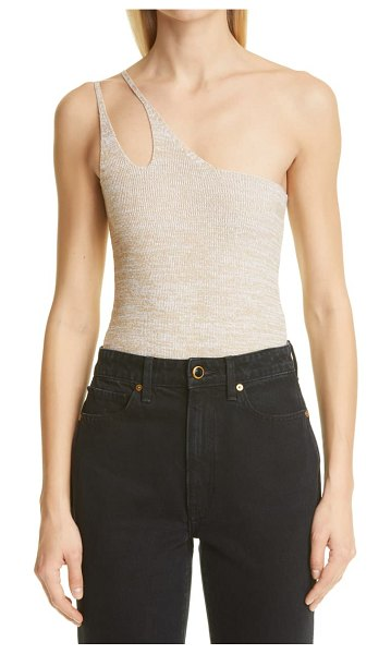 Isa Boulder knit one-shoulder bodysuit in oatmeal