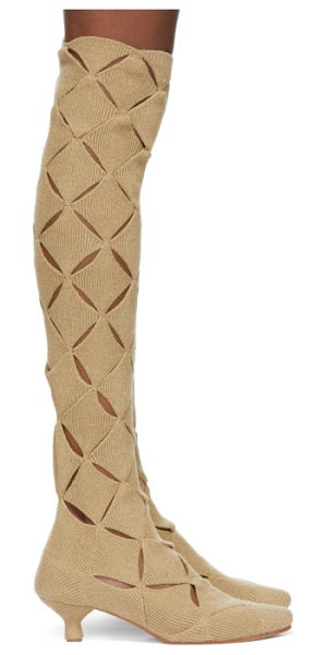 Isa Boulder ssense exclusive beige thigh-high argyle boots in burlap