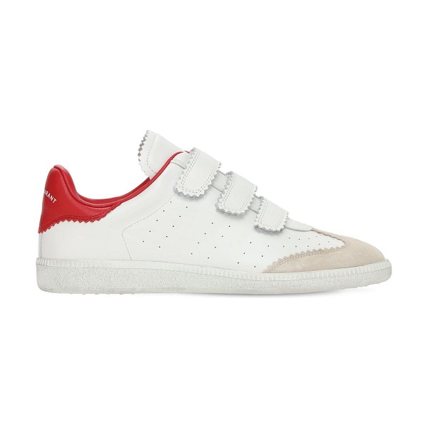 Isabel Marant 20mm beth leather strap sneakers in white,red