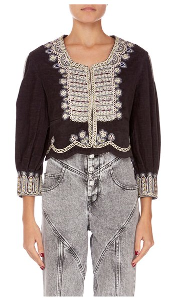 Isabel Marant Amity Embroidered Crop Jacket in black