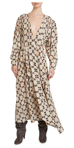 Isabel Marant Asymmetric Floral Maxi Dress in ecru
