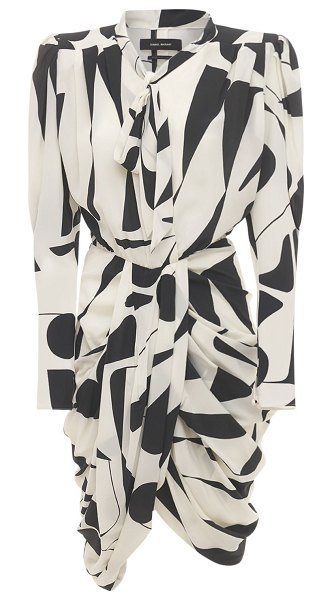 Isabel Marant Atoae printed silk midi dress in ecru,black