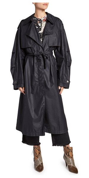 Isabel Marant Belted Double-Breasted Taffeta Trench Coat in black