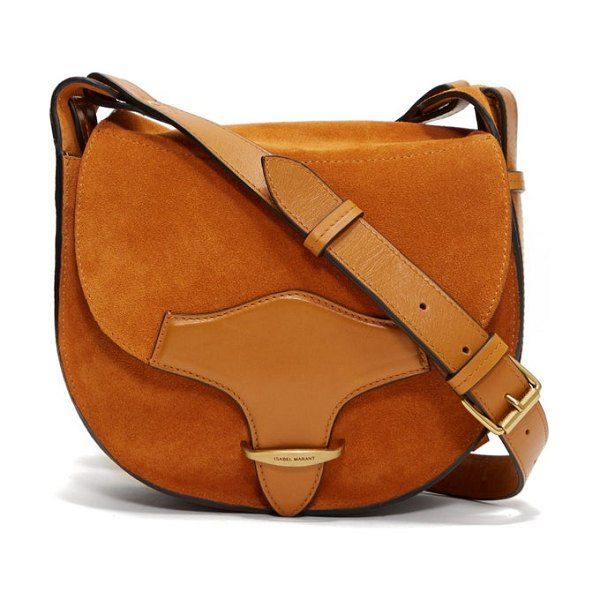 Isabel Marant botsy leather and suede cross-body bag in tan