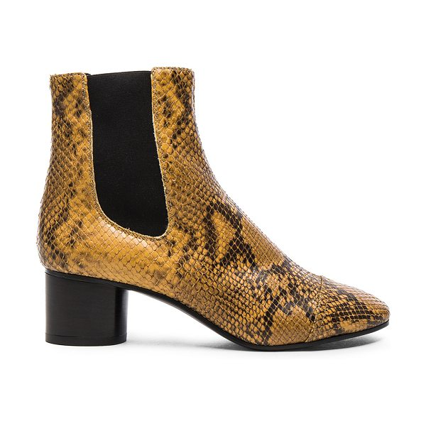Isabel Marant Danae Printed Python Booties in yellow,animal - Snakeskin embossed calf leather upper with leather sole....