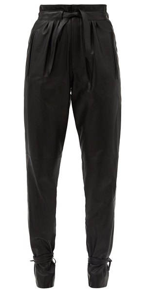 Isabel Marant duardo tied-ankle leather tapered trousers in black