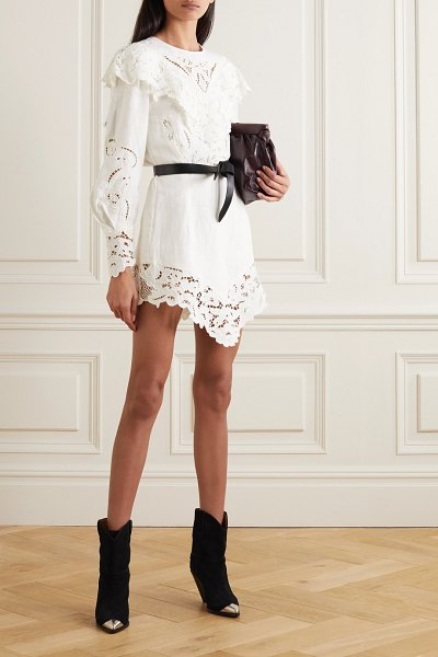 Isabel Marant ellery asymmetric linen and guipure lace mini dress in white