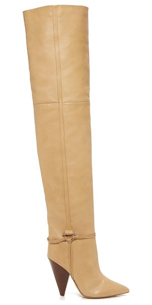 Isabel Marant embellished over-the-knee leather boots in neutral