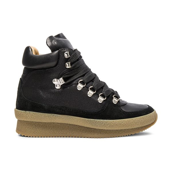 Etoile Isabel Marant Brent Hiking Boots in black - Cotton blend fabric upper with rubber sole.  Made in...