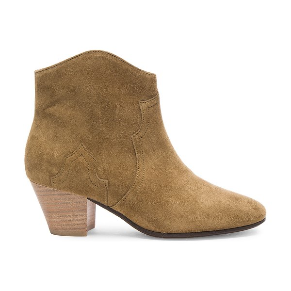 Etoile Isabel Marant Dicker Velvet Booties in brown - Calfskin velvet leather upper  with leather sole.  Made...