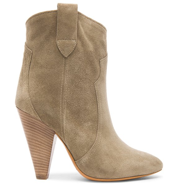 ETOILE ISABEL MARANT Roxann Calfskin Velvet Leather Booties - Calfskin velvet leather upper with leather sole.  Made in...