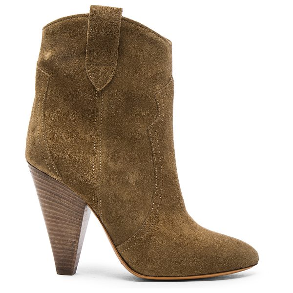 Etoile Isabel Marant Roxann Velvet Booties in green - Calfskin velvet leather upper with leather sole.  Made...