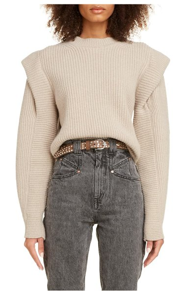 Isabel Marant layered cashmere & wool sweater in beige