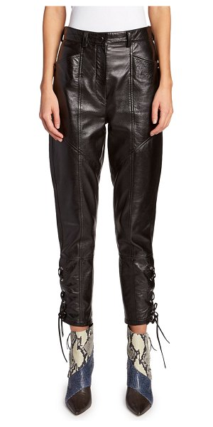 Isabel Marant Leather Lace-Up Pants in black