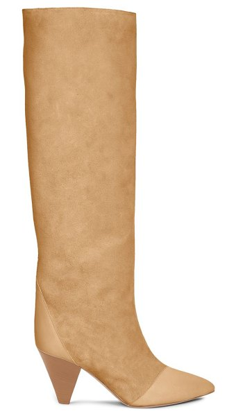Isabel Marant leoul suede & leather tall boots in beige