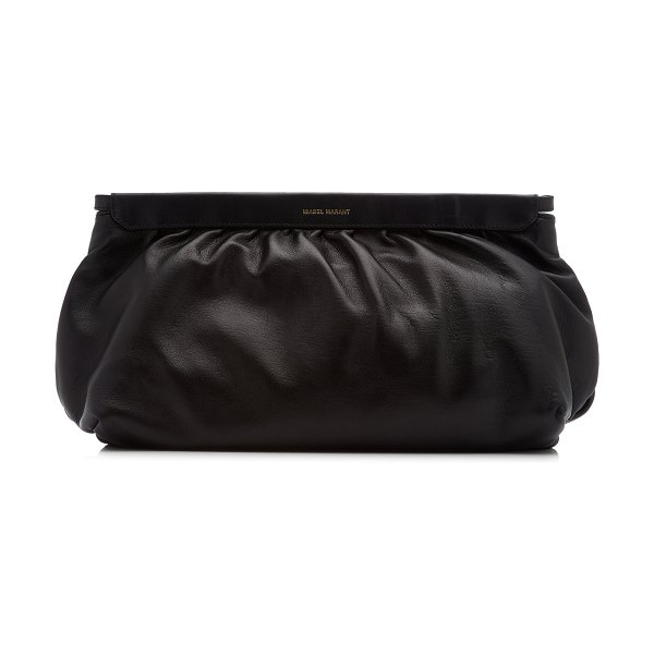 Isabel Marant luz studded leather clutch in black