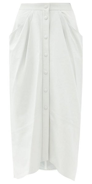 Isabel Marant lyvia pleated leather midi skirt in white