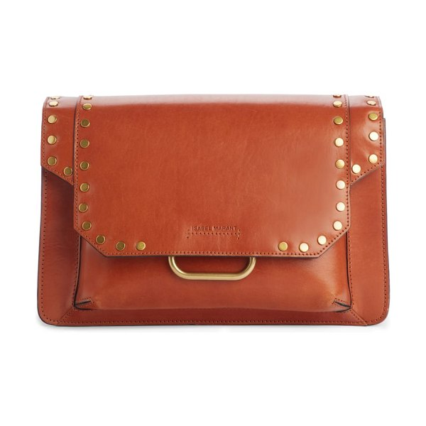 Isabel Marant maskhia studded shoulder bag in cognac - Polished disc studs trace the structured silhouette of...