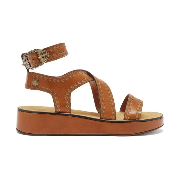 Isabel Marant nuriee leather flatform sandals in tan