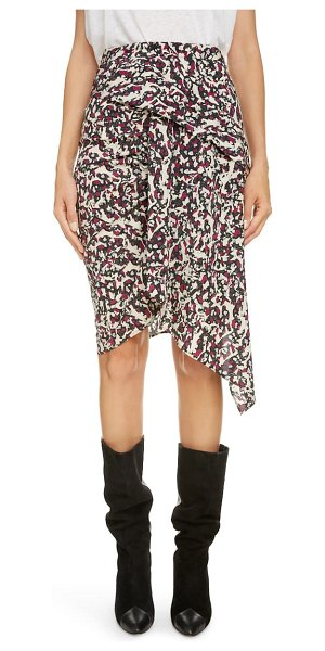 Isabel Marant print drape stretch silk skirt in black/ pink