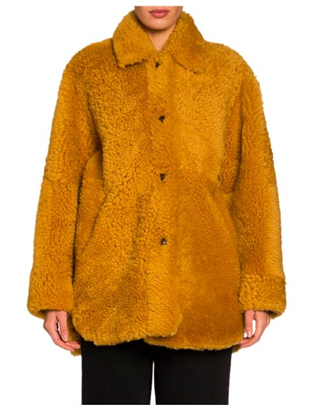 Isabel Marant Reversible Chubby Lamb-Fur Coat in yellow
