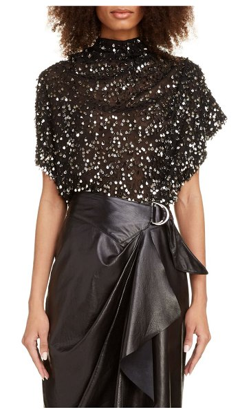 Isabel Marant sequin drape blouse in black