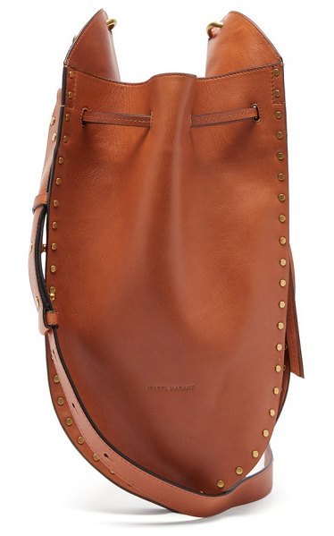 Isabel Marant taj small studded suede bucket bag in brown