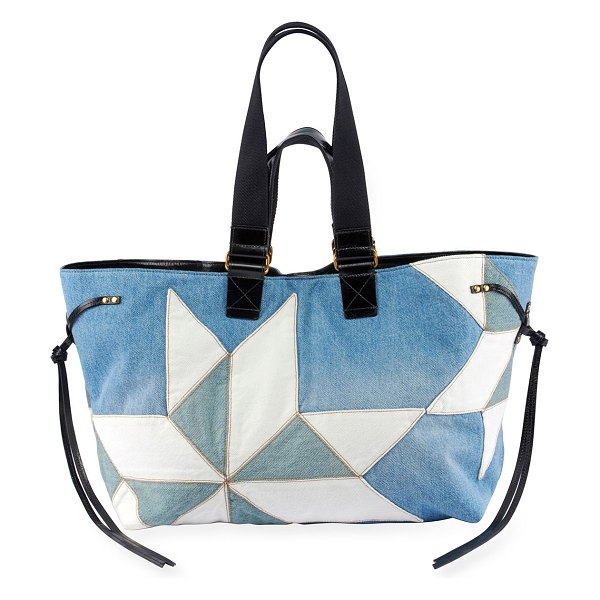 Isabel Marant Wardy New Denim Patchwork Tote in blue