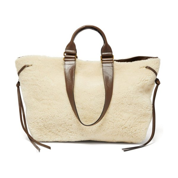 Isabel Marant wardy shearling and leather tote bag in cream