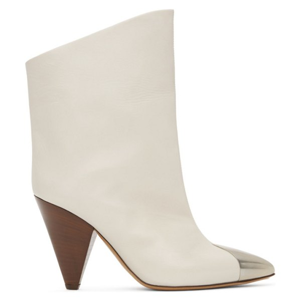 Isabel Marant white leather lapee boots in 20wh white