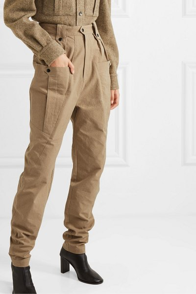 Isabel Marant yerris pleated cotton-twill tapered pants in army green