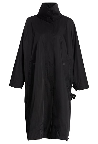 Issey Miyake compact botanical stand collar trench coat in black